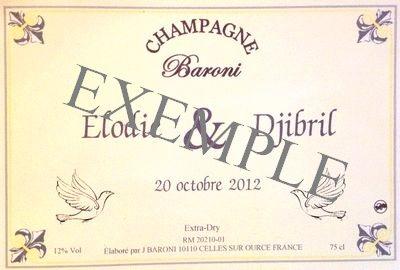 Etiquette personnalisée Champagne Baroni